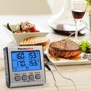 ThermoPro TP17 Termómetro Cocina Digital de Doble Sonda con Modo Temporizador Termómetros de Barbacoa con Grande Retroiluminación de LCD para BBQ ...