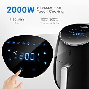 Tidylife 5L 2000W, 8 programas preestablecidos freidora de Aire Caliente, Freidora Digital sin Aceite con tecnología Ultra-rápida de circulación de ...