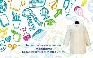 Medidas de la bata infantil: talla pequeña: 70x105 cms. El tamaño ideal para que los niños no manchen su ropa al jugar con pinturas o al comer.