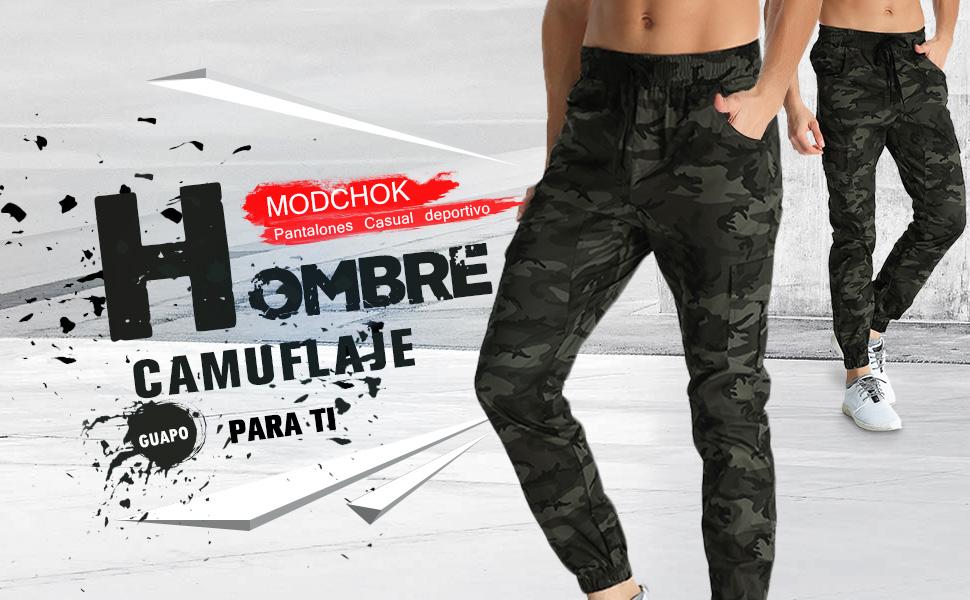 MODCHOK Hombre Pantalones Largos Camuflaje Jogger Ch¨¢ndal Pants ...