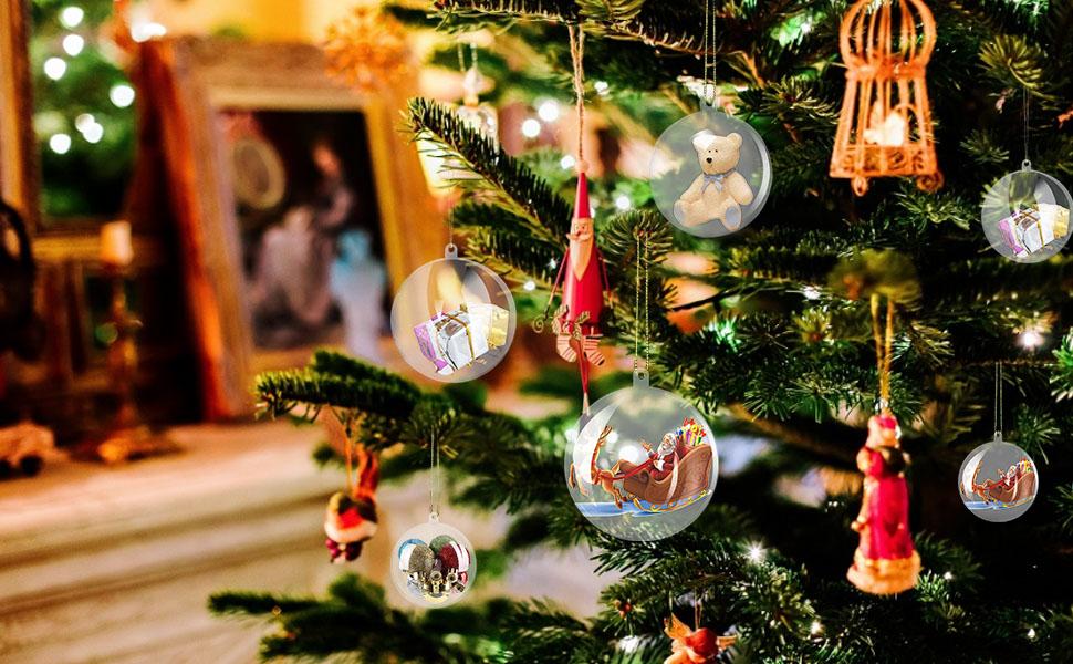 amzdeal Bolas de Navidad Transparentes con Diámetro de 10cm - 12 ...