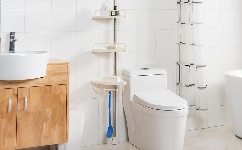 310 cm Blanco UDEAR Corner Shelf Bathroom Organizador Ajustable Ducha 110 cm