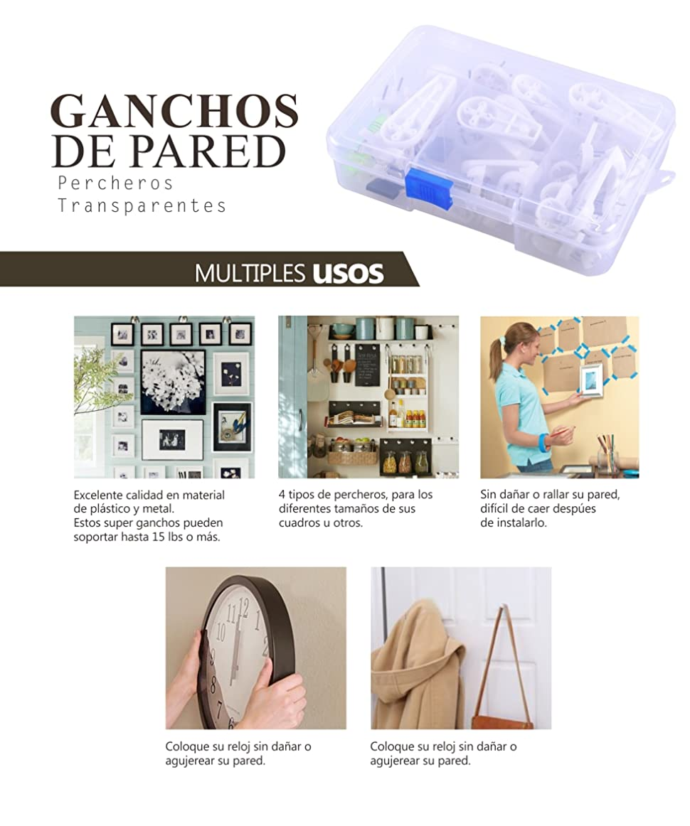 Ezakka Ganchos De Pared Pl Sticos Percheros Transparente Soporte  ~ Colgar Espejo Baño Sin Taladrar