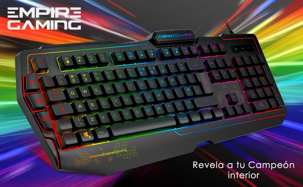 EMPIRE GAMING – Teclado Gaming K900 Español QWERTY -105 teclas semi-mecánicas- Retroiluminación LED RGB, 9 Modos: 8 predefinidos y 1 personalizable - ...