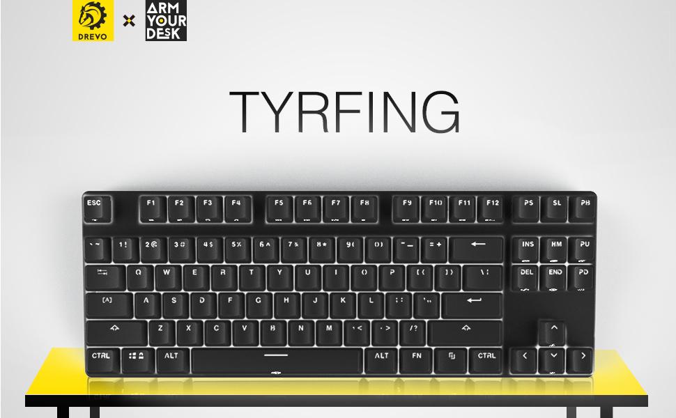 DREVO Tyrfing retroiluminación de 87 botones Edición Teclado de juego mecánico Tenkeyless interruptor Negro / interruptor Azul / interruptor Marrón / ...
