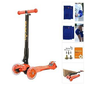 Fascol Patinete de 3 Ruedas con Diseño Scooter para Niños de 2 a 12 Años de Edad + Rodillera, Naranja