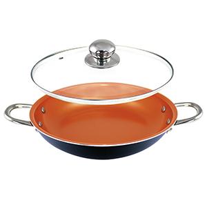 Sartén de cobre de 14 pulgadas con tapa, cazuela de wok con ...