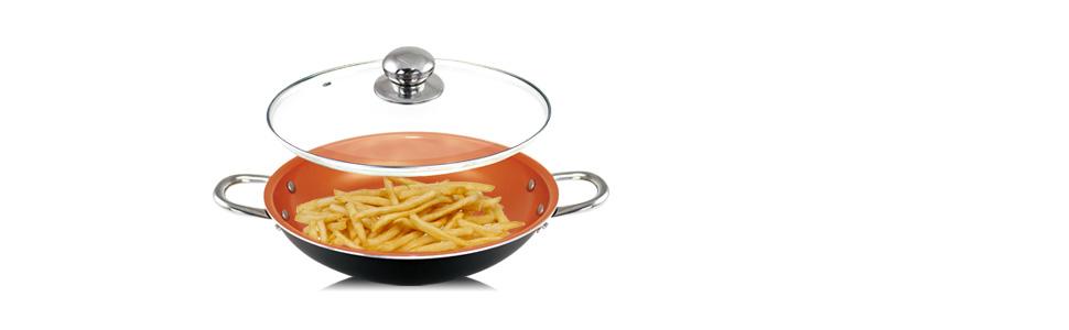 Sartén de cobre de 14 pulgadas con tapa, cazuela de wok con tapa ...
