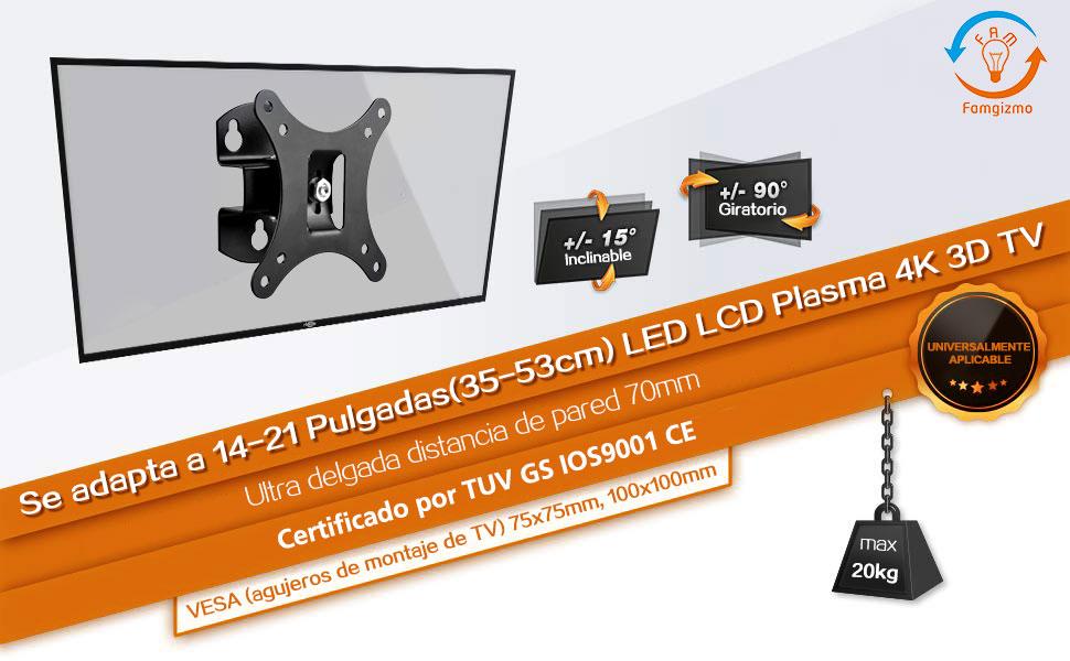 Famgizmo Soporte de Pared Delgado para TV 10-24 Pulgadas(25-60cm), Inclinable y Giratorio, Vesa 50x50mm 100x100mm, Carga 20KG, para Pantalla Plana(LED LCD Plasma 4K 3D Monitor de PC): Amazon.es: Electrónica