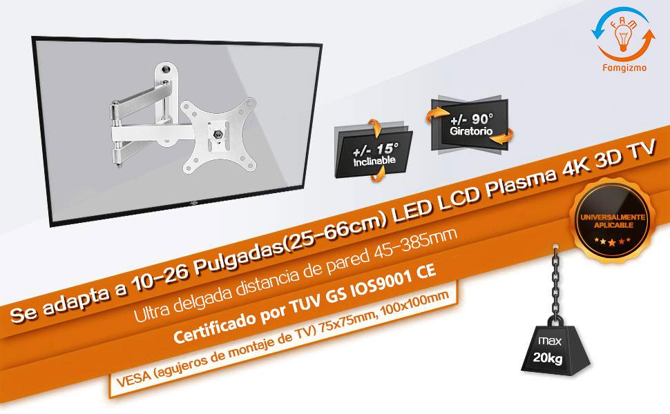 Famgizmo Soporte de Pared para TV 10-26 Pulgadas(25-66cm), Inclinable y Giratorio, Máx Vesa 100x100mm, Carga 20KG (45lbs), para Televisores de Pantalla Plana(LED LCD Plasma 4K 3D) – Plata: Amazon.es: Electrónica