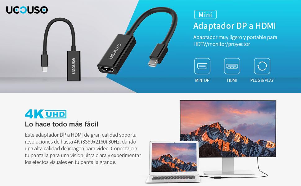UCOUSO Mini DP a HDMI Adaptador, Mini DisplayPort (Puerto de ...
