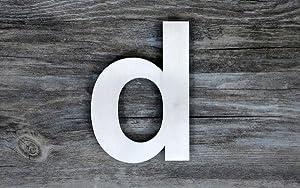 QT Número de casa moderna - SUPER GRANDE 30 Centímetros - Acero inoxidable (Letra d), Apariencia flotante, Fácil de instalar y hecho de acero ...