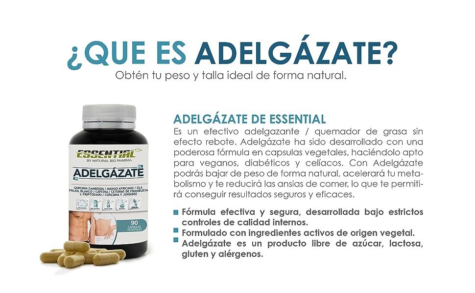 Potente Adelgazante, Quemagrasas y Reductor del Apetito | Acción adelgazante 3 en 1 100% eficaz | Estimulante del Metabolismo | Pierde peso rápida y naturalmente | 90 Cápsulas.: Amazon.es: Salud y cuidado personal