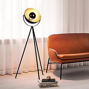 Albrillo Lámpara de Pie Vintage - Lámpara de Suelo, pantalla negra-dorada mate, casquillo E27, máx. 60W, diseño retro, 140cm con interruptor de cable ...