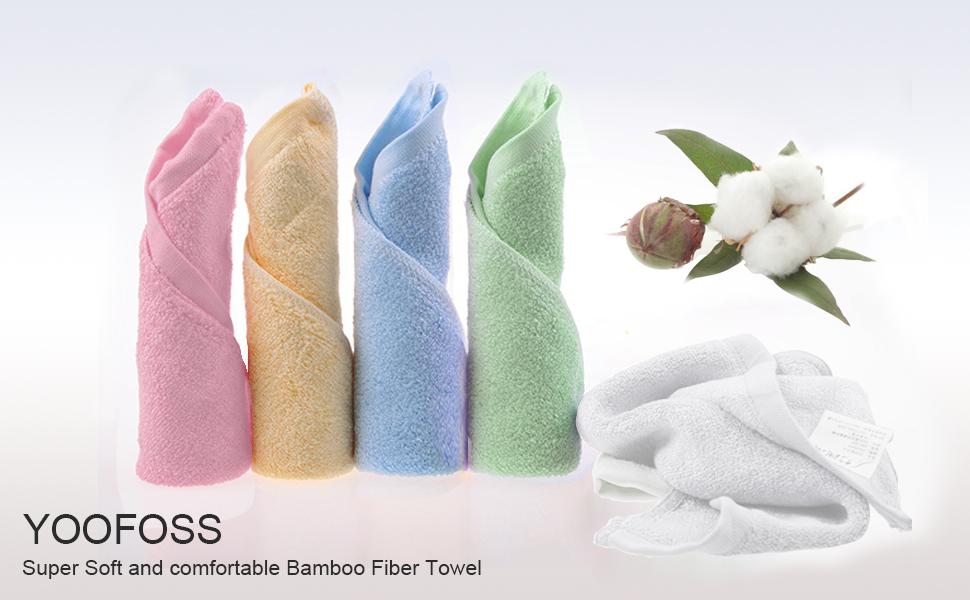 YOOFOSS usa solo los mejores materiales para hacer esta lujosa toalla de fibra de bambú de color, que es más suave y esponjosa que las toallas de algodón ...