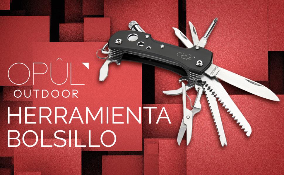 Opul Navaja Multiuso de Bolsillo - Navaja Suiza Multifunción de Acero Inoxidable, 12 Herramienta Multiuso en 1 - Cuchillo Supervivencia (Acampada), ...