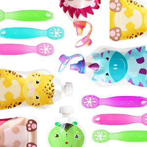 ChooMee Tapas para bolsitas de alimento reutilizable para el beb/é 4 piezas Multicolor
