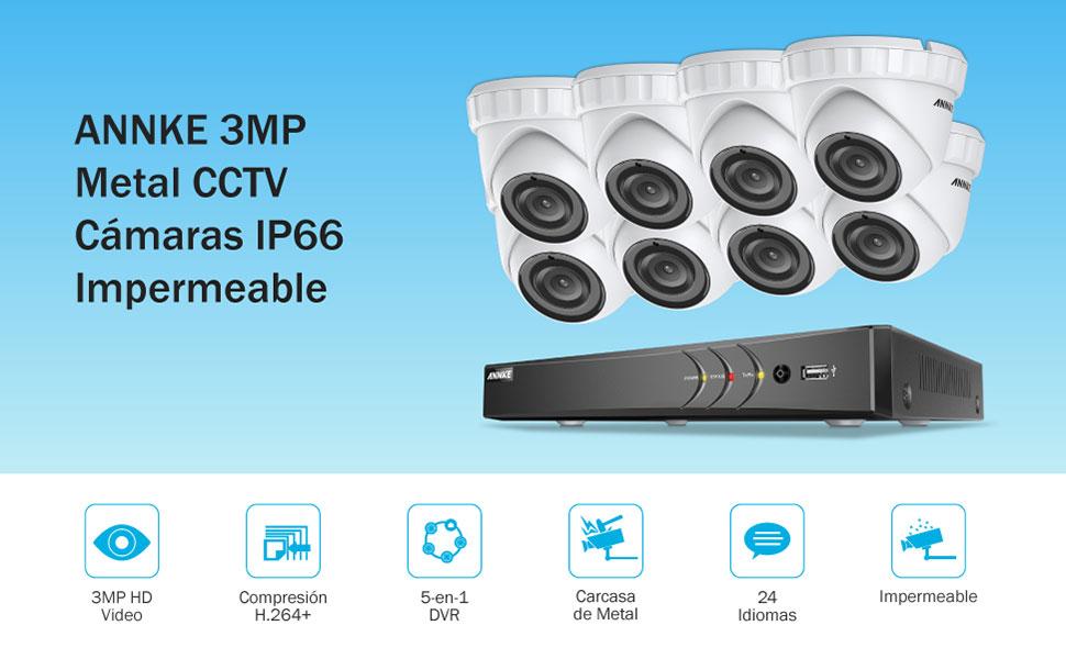 ANNKE 3MP Kit Sistema de Seguridad 8CH DVR y 8 Cámaras Metal 3MP IP66 Interior/Exterior--Inclye 2TB Disco duro de vigilancia