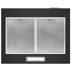 CIARRA CBCB6201 Campana de pared 60cm 380 m³/h 65W - 3 velocidades - Evacuación al exterior y Recirculación Interna por Filtro de Carbón CBCF002 - Opera por Botones - Acero Inoxidable Negro: Amazon.es: Hogar