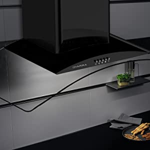 CIARRA CBCB9506B Campanas Extractoras Cristal 90cm 550m³/h 100W·3 Velocidad de Extracción·Evacuación al Exterior y Recirculación Interna por Filtro de Carbón CBCF004·Acero Inoxidable Negro: Amazon.es: Grandes electrodomésticos