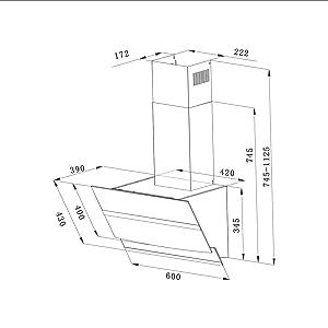 Campana CBCW6736N Extractora de Pared 60cm 750m³/h 210W - Pantalla Táctil - 3 Niveles - Evacuación al Exterior y Recirculación Interna por Filtro de Carbón CBCF003 - Cristal & Acero Inox. Blanco: