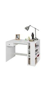 SoBuy FWT40-WN,Mesa de Ordenador con 2 cajones,Mesa de Escritorio ...