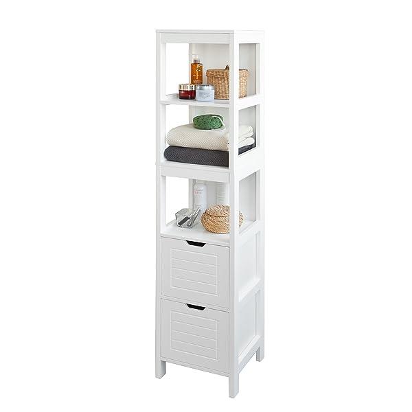 SoBuy® Mueble columna de baño, Armario para baño - 3 estantes y 2 ...