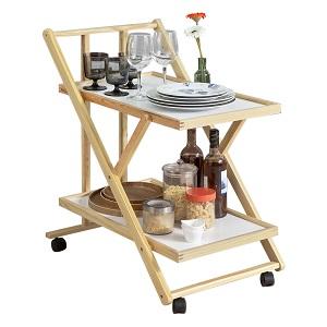Carrito multiusos: Este carrito es perfecto para transportar platos de comida y bebidas de la cocina al comedor o la terraza.