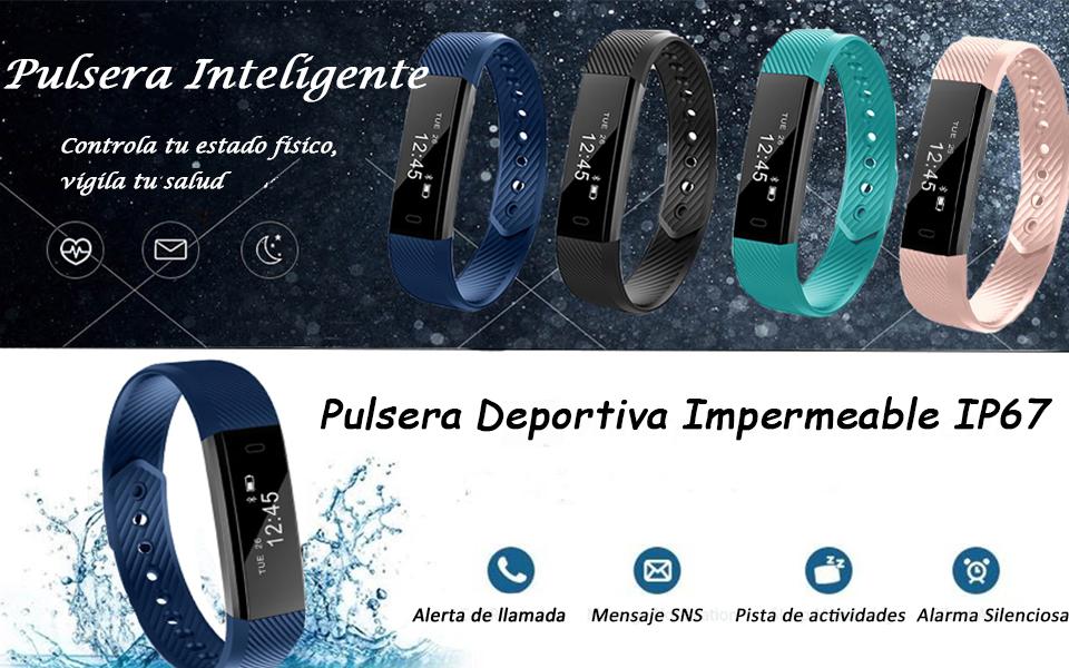 SZSMART Fitness Tracker Pulsera Actividad Pulsera Inteligente con Pulsómetro Pulsera Deportiva Monitor de Actividad Impermeable IP67 Reloj Fitness ...