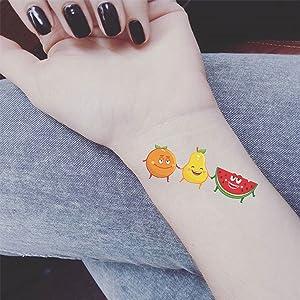SZSMART Tatuajes Temporales para niñas, 15 Hojas Fruto Lindo del ...