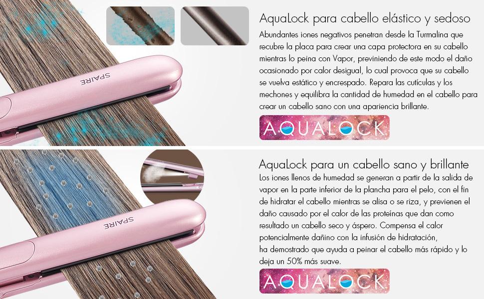 Plancha protectora de cabello AquaLock para cabello elástico y sedoso- un cabello sano y brillante