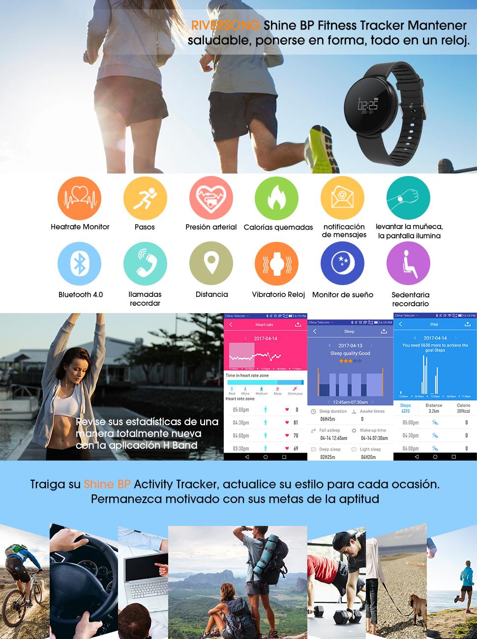 Pulsera de Actividad Reloj Inteligente, RIVERSONG Fitness Tracker ...