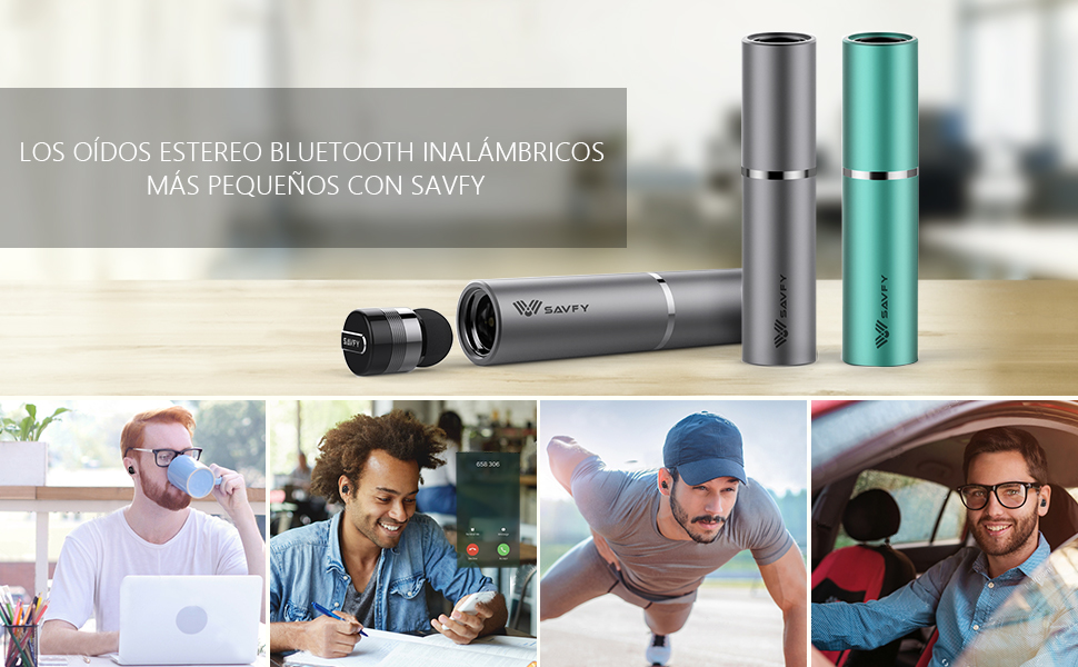 SAVFY True Wireless Headphones Mini Bluetooth Headset con microfono. Super Ultra delgado y ligero. Elegante, invisible, súper mini auricular Bluetooth y ...