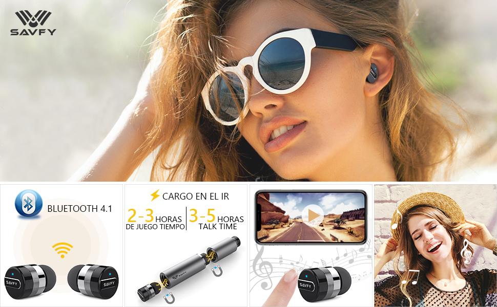 Mini auricular Bluetooth, SAVFY auricular inalámbrico de 2 piezas CSV 6.0 auricular inalámbrico con microfono y adaptador de corriente para portátil ...