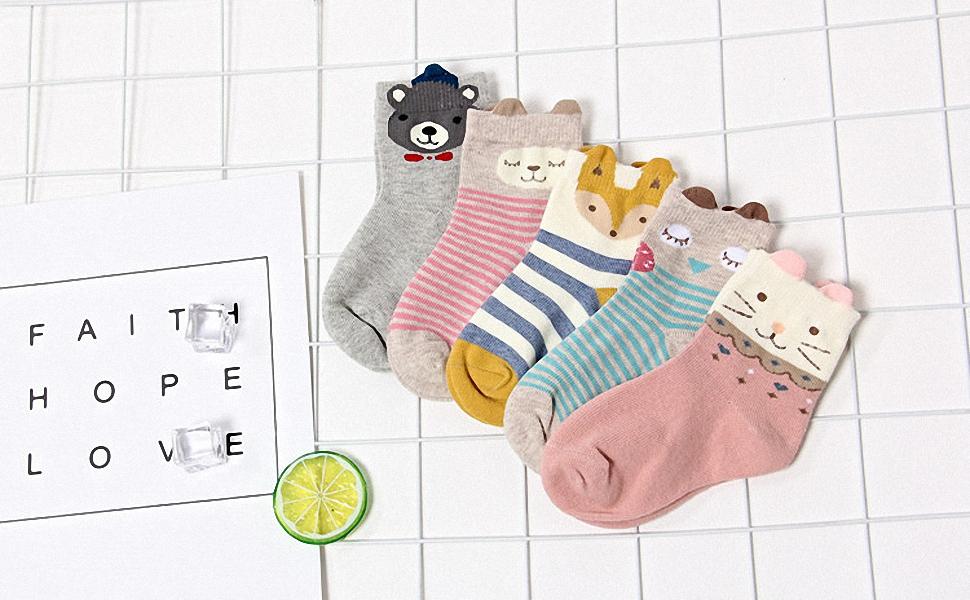 Calcetines de Algodón para Niñas Novedad Diseños Calcetines, Animalitos estampados