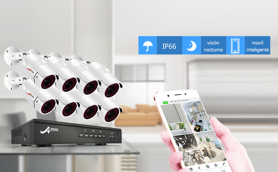 Kits Cámaras de Vigilancia PoE, ANRAN Kit Sistema de Seguridad CCTV 8CH 1080P Sistema Videovigilancia Hogar con 8PCs Cámaras IP ...