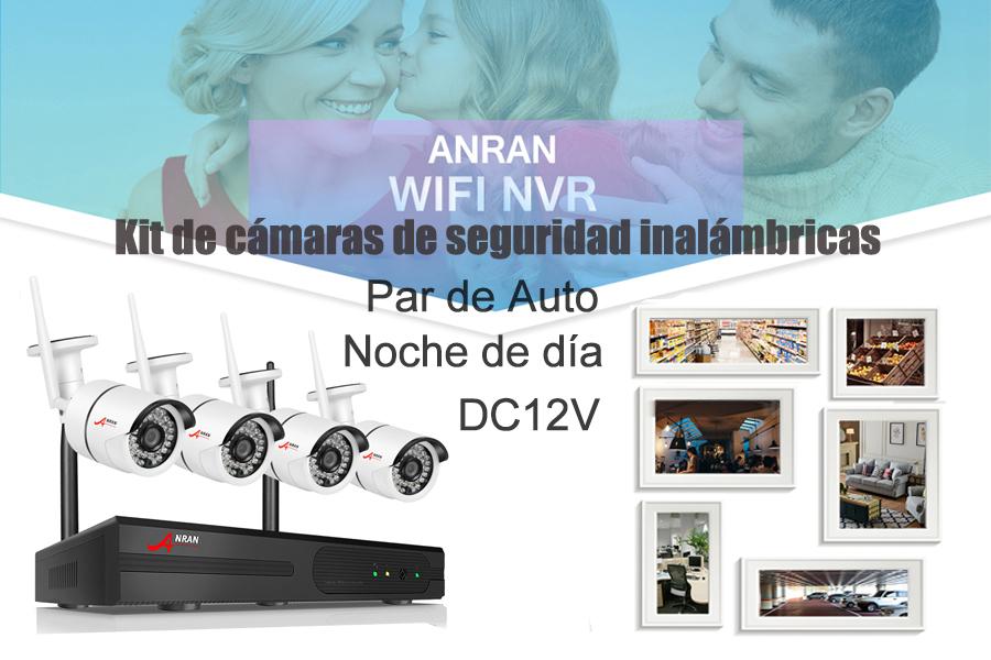 Sistema de cámara de seguridad inalámbrica de 4 canales con disco duro de 1TB para uso comercial y de vigilancia en el hogar