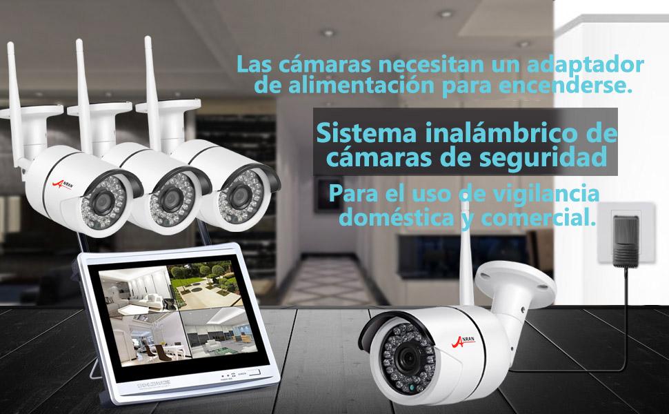 ANRAN 4 canales 960P Sistema de cámara de seguridad inalámbrica NVR con monitor de 12