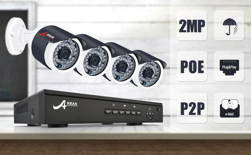 Sistema de Cámaras de Seguridad POE 4CH 1080P ...