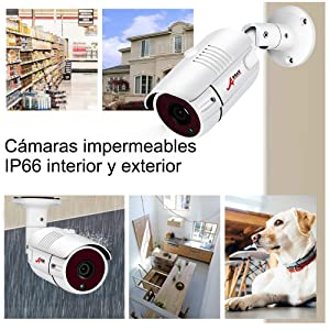 Kit Cámaras de Seguridad PoE para Casas, ANRAN 1080P Kit Videovigilancia PoE NVR 4CH, Kit de Vigilancia 4 Cámaras PoE, 1TB Disco Duro para Sistema de ...