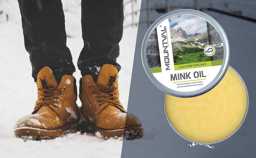 Mountval, El aceite de visón, aceite de calidad para zapatos, nutre a prueba de agua y protege los zapatos para exteriores hechos de cuero, ...