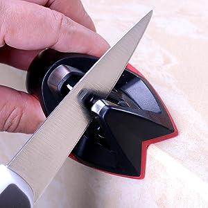 Phaewo Afilador de Cuchillos de Cocina Profesional, Empuñadura del Borde Afiladores Manuales de 2 Etapas, Acero de Tungsteno