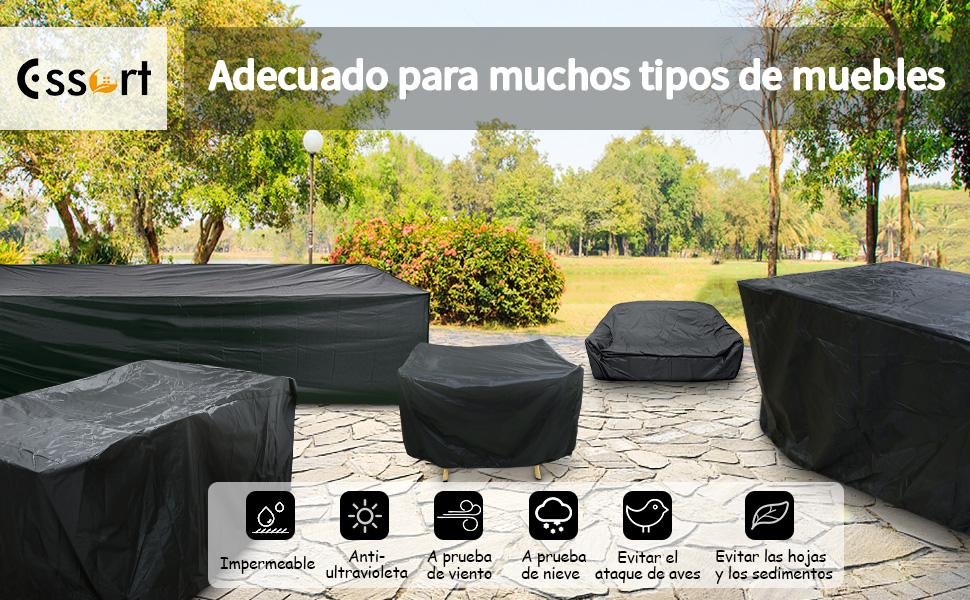 Essort Funda Mesa Jardin 213x123x74cm, Fundas para Muebles de Jardin Impermeables, Juego de Fundas para Sofa de Jardin, al Aire Libre, Patio, Plazas Funda para Sofa de Esquina, Mesa y Sillas, Negro: