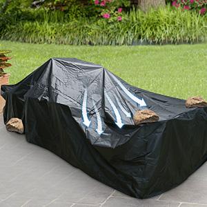 Essort Fundas para muebles de Jardin, Tamaño Grande 315x160x74cm Fundas impermeables para Muebles, Funda rectangular de poliester negro para Mesa y Silla para Patio: Amazon.es: Jardín