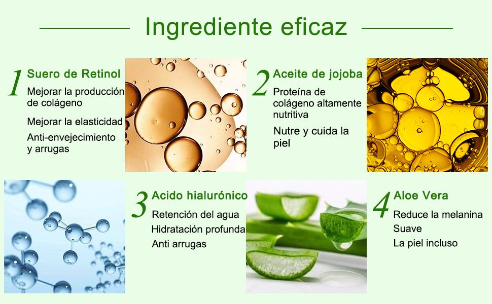 Retinol Serum 2.5% con Acido Hialuronico Puro,Aloe Vera y Glycerin Serum Facial para Antiarrugas,Antiedad,Contorno de Ojos,Acné Tratamiento Suero de ...