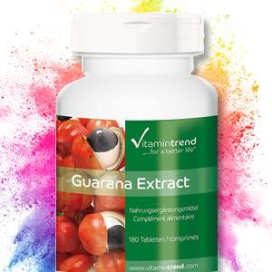 Extracto de guaraná 300mg – 4 veces mayor concentración – vegano – tratamiento para 6 meses – 180 comprimidos