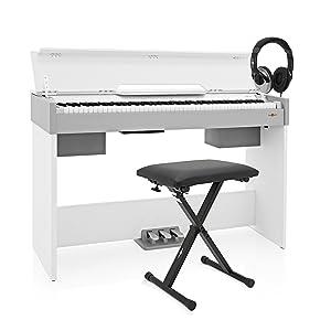 Piano Digital Compacto Dp 7 De Gear4music Paquete De Accesorios Blanco Amazon Es Instrumentos Musicales