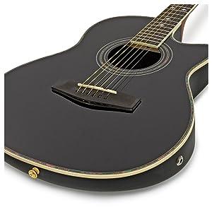 Guitarra Electroacustica Roundback de Gear4music Negra: Amazon.es: Instrumentos musicales