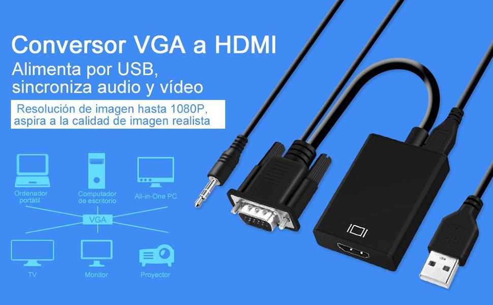 GHB Adaptador VGA HDMI Conversor con Audio con Alimentación USB para TV Portátil PC TV Box Resolución de 1080p Full HD: Amazon.es: Electrónica