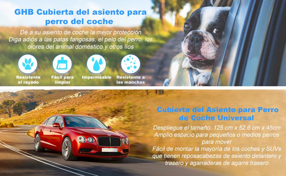 GHB Cubierta de Asiento de la Hamaca del Coche con Doble Cremallera Cubierta de Protecci/ón del Perro para Mascotas y Viajes Negro